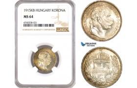 AE658, Hungary, Franz Joseph, 1 Korona 1915-KB, Kremnitz, Silver, NGC MS64