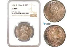 AE659, India (British) Victoria, 1 Rupee 1901-B, Bombay, Silver, NGC AU58