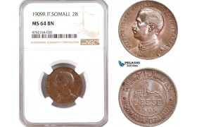 AE661, Italian Somaliland, Vitt. Emanuele III, 2 Bese 1909-R, Rome, NGC MS64BN