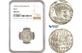 AE663, Latvia, Sigismund III. of Poland, 3 Groschen (Trojak) 1596, Riga, Silver, NGC MS63+