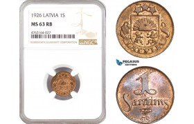 AE664. Latvia, 1 Santims 1926, NGC MS63RB