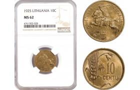 AE666, Lithuania, 10 Centu 1925, NGC MS62