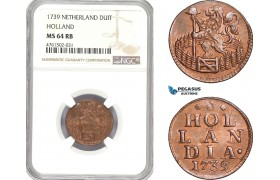 AE668, Netherlands, Holland, 1 Duit 1739, NGC MS64RB