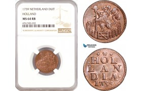 AE669, Netherlands, Holland, 1 Duit 1739, NGC MS64RB