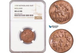 AE670, Netherlands, Holland, 1 Duit 1739, NGC MS63RB