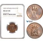 AE671, Netherlands, Willem III, 1 Cent 1876, Utrecht, NGC MS64+ BN, Pop 1/0