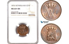 AE671, Netherlands, Willem III, 1 Cent 1876, Utrecht, NGC MS64+ BN, Pop 1/0