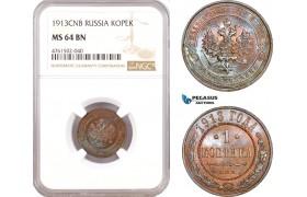 AE678, Russia, Nicholas II, 1 Kopek 1913, St. Petersburg, NGC MS64BN