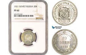 AE682-R, Russia (Soviet) 20 Kopeks 1921, Leningrad, Silver, NGC PF62