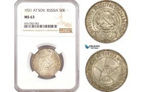 AE683, Russia (Soviet) 50 Kopeks 1921 (АГ) Leningrad, Silver, NGC MS63