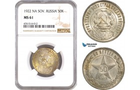 AE685, Russia (Soviet) 50 Kopeks 1922 (NA) Leningrad, Silver, NGC MS61