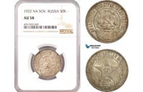 AE687, Russia (Soviet) 50 Kopeks 1922 (NA) Leningrad, Silver, NGC AU58