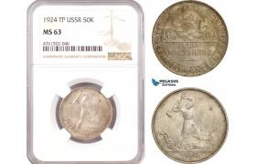 AE689, Russia (USSR) 50 Kopeks 1924 (TP) Leningrad, Silver, NGC MS63
