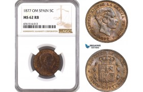 AE691, Spain, Alfonso XII, 5 Centimos 1877-OM, Barcelona, NGC MS62RB