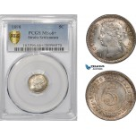 AE692, Straits Settlements, Victoria, 5 Cents 1898, Silver, PCGS MS66+, Top Pop!