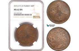 AE699, Ottoman Empire, Turkey, Abdülaziz, 40 Para 1277/4, Kostantiniye (Istanbul) NGC MS62BN