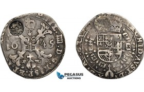 AE703, Spanish Netherlands, Brabant, Philip IV, 1/4 Patagon 1645, Silver (6.76g) Unknown countermark, VF