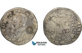 AE704, Spanish Netherlands, Overijssel, Philip II, Philipsdaalder (1/2 Ecu Philip) 1566, Silver (16.51g) Lion countermarked for Flanders, Del. 81, F-VF