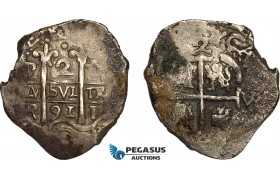 AE706, Bolivia, Charles II, 2 Reales 1691 VR, Potosi, Silver (6.43g) CT-622, Corroded, VF-XF