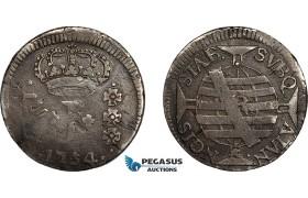 AE707, Brazil, Jose I, 150 Reis 1754-R, Rio de Janeiro, Silver, Toned F-VF