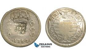 AE708, Brazil, Jose I, 150 Reis 1754-R, Rio de Janeiro, Silver, Shield Countermark, Russo 257A, F-VF
