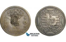 AE709, Brazil, Jose I, 600 Reis 1758-B, Bahia, Silver, Shield Countermark, Russo 234, F-VF