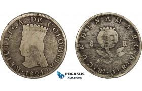 AE714, Colombia, Pre-Rebublican, 8 Reales 1821 Ba JF, Cundinamarca, Silver, KM# C6, Fine