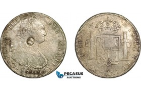 "AE730, Great Britain, George III ""Emergency Dollar"" 1797-99, Oval C/S on 8 Reales 1794 PTS, Saltwater Damage, F-VF"