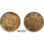 AE735, Japan, Meiji, 20 Sen Yr. 3 (1870) Silver, Toned AU