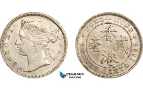 AE736, Hong Kong, Victoria, 20 Cents 1867, Silver, Cleaned AU