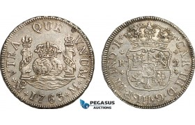 AE741, Mexico, Charles III, Pillar 2 Reales 1763 MoM, Mexico City, Silver,  XF