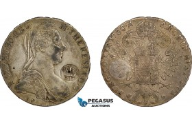AE742, Mozambique, Carlos I, Taler 1780, Silver (27.92g) countermarked crowned PM (Província de Moçambique) VF