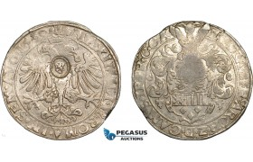 "AE744, Netherlands, Holland, Taler 1569, Silver (29.17g) Countermarked ""Lion"" on Belgium Cambrai Taler, VF, Rare!"