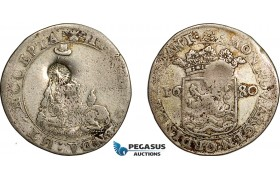 AE745, Netherlands, Zeeland, Hoedjesschelling 1680, Silver (4.85g) Countermarked Bundle of Arrows, F-VF