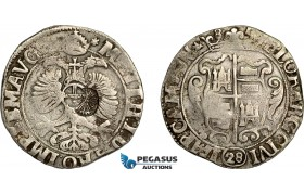 AE746, Netherlands, Kampen, 28 Stuiver 1685, Silver (19.58g) Countermarked Bundle of Arrows, F-VF