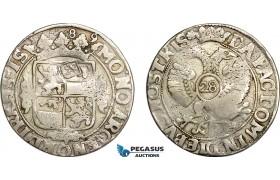 AE747, Netherlands, Overijssel, 28 Stuiver of Florijn 1689, Silver (17.04g) Lion Countermark, VF