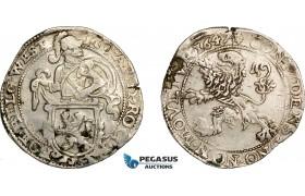 AE748, Netherlands, Westfriesland, Daalder 1647, Silver (27.00g) Flaw, VF-XF