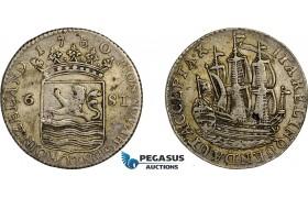 AE749, Netherlands, Zeeland, 6 Stuiver 1780, Silver, VF