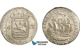 AE750, Netherlands, Zeeland, 6 Stuiver 1791, Silver, AU