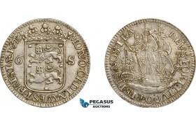 AE751, Netherlands, Westfriesland, 6 Stuiver 1678, Silver, Toned XF