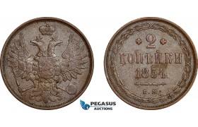 AE758, Russia, Nicholas I, 2 Kopeks 1854 EM, Ekaterinburg, XF