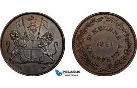 AE765, Saint Helena, Half Penny Token 1821, AU