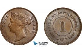 AE767, Straits Settlements, Victoria, 1 Cent 1897, AU-UNC