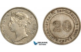 AE768, Straits Settlements, Victoria, 20 Cents 1888, Silver, XF