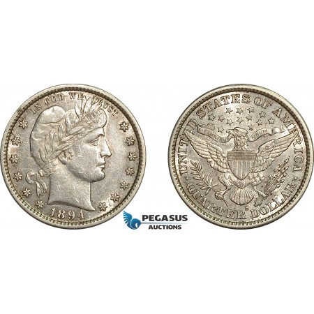 AE775, United States, Barber Quarter (25c) 1894-S, San Francisco, Silver, Ligthly cleaned AU