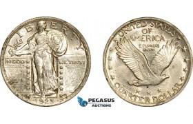 AE776, United States, Walking Liberty Quarter (25c) 1923, Philadelphia, Silver, AU-UNC (Edge damage)