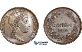 AE777, Venezuela, 1 Centavo 1852, AU-UNC (Scratched on Obv.)