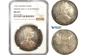 AE780, Austria, Maria Theresia, Taler 1765, Vienna, Silver, NGC MS63+