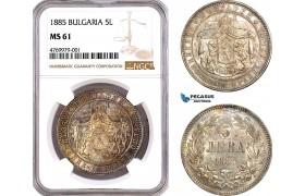 AE781, Bulgaria, Alexander I, 5 Leva 1885, St. Petersburg, Silver, NGC MS61