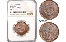 AE783, China, Kiangsu, 10 Cash 1905, Flying Dragon, NGC MS62BN